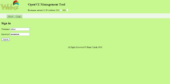 WebVZ- OpenVZ Management ToolLogin